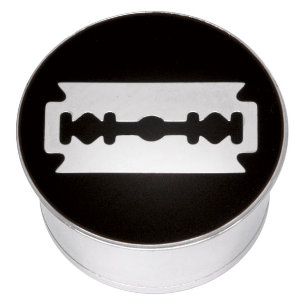 "Steel Basicline® Single Flared Impression Plug ""Razor Blade on Black"""