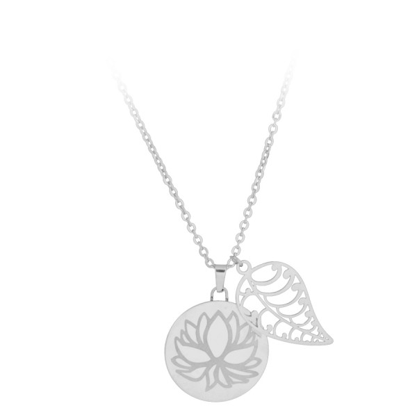 Silvercoloured Lotus with Leaf Necklace
