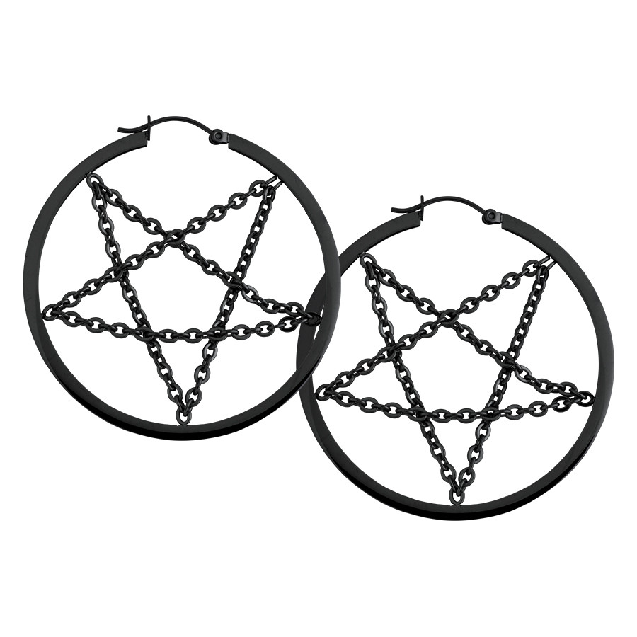 Black Pentagram Chain Hoops