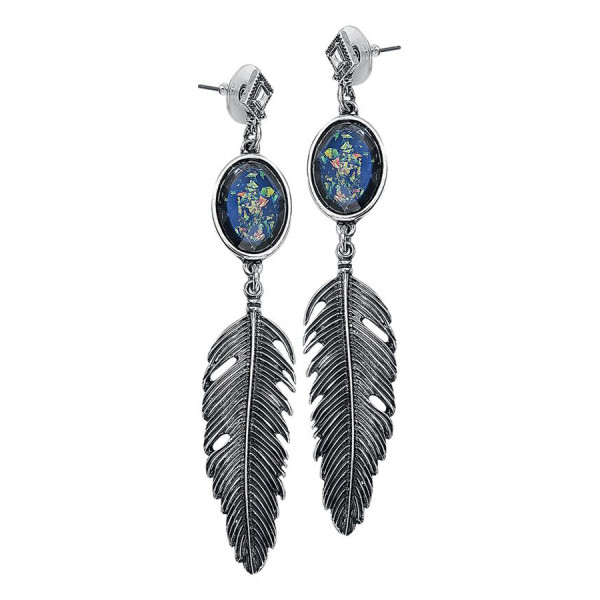 Opal Feather Earstuds