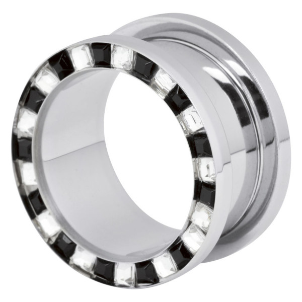 Steel Basicline® Flat Square Cyrstal Tunnel Clear & Black