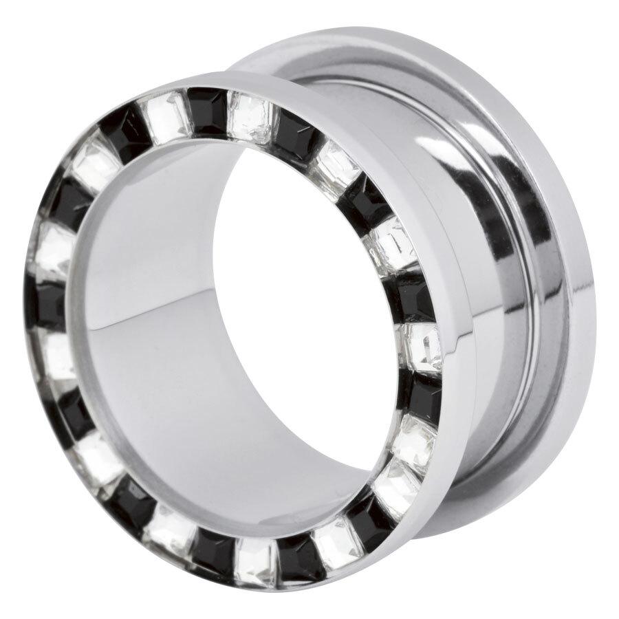 Steel Basicline® Flat Square Cyrstal Tunnel Clear & Black