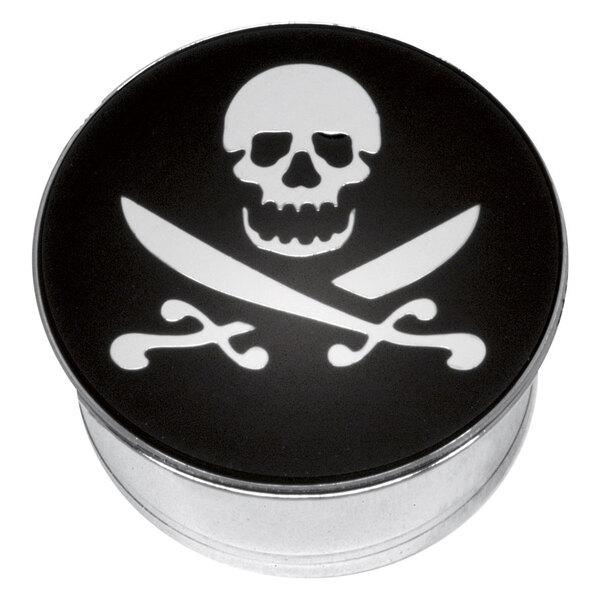 """Steel Basicline® Single Flared Impression Plug """"Skull and Cutlass on Black"""""""