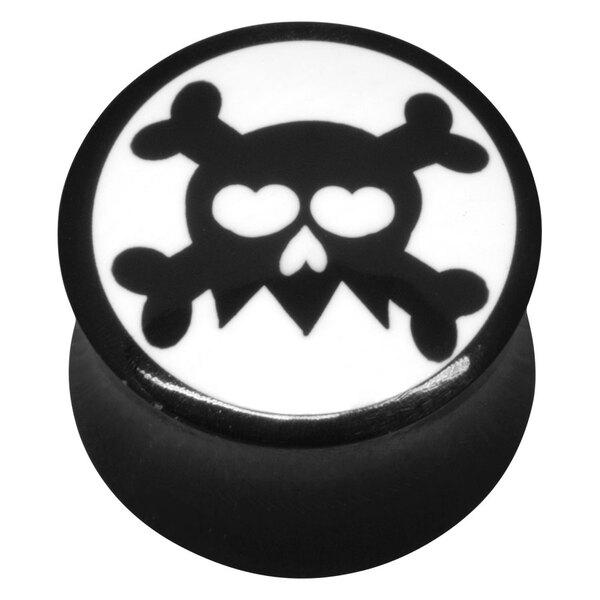 Buffalo Horn Black Skull On White Plug