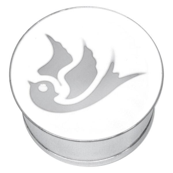 "Steel Basicline® Single Flared Impression Plug ""Swallow on White"""