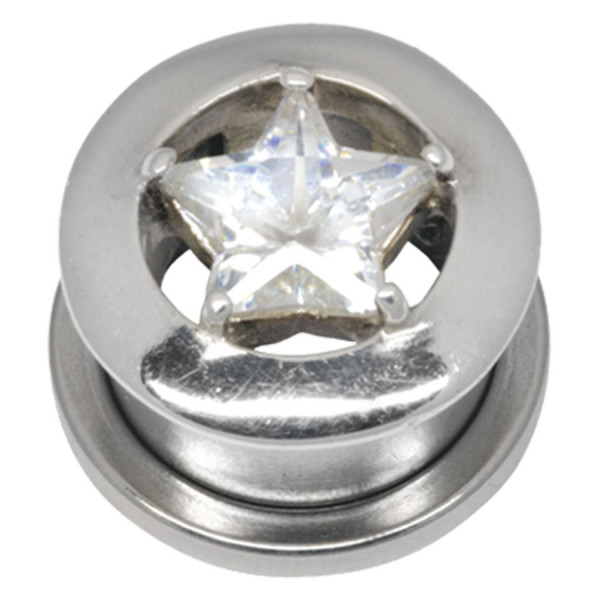 Steel Basicline® Jewelled Star Flesh Tunnel