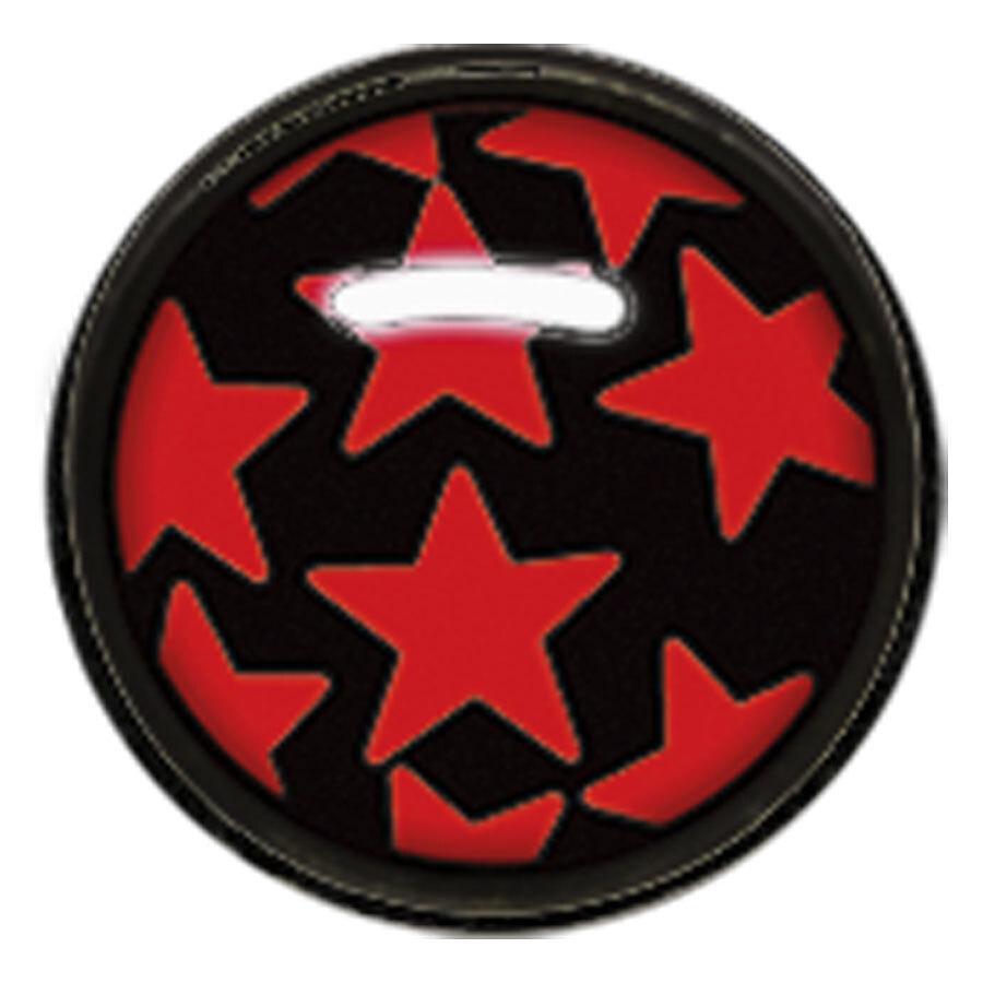 "Titan Blackline® Internally Threaded Ikon Disk ""Red Stars on Black"""