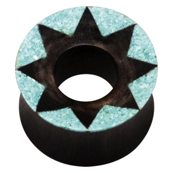 Organic Buffalo Horn Turquoise Star Tunnel
