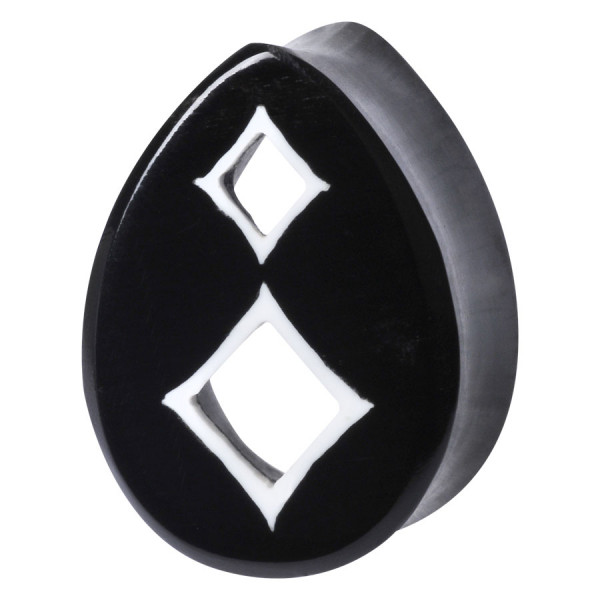 Teardrop Buffalo Horn Plug Square