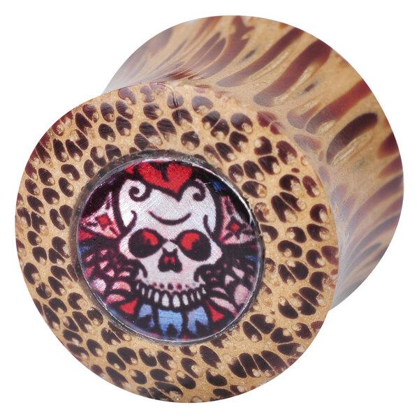 """Ikon Coconut Wood Plug """"Skull"""""""