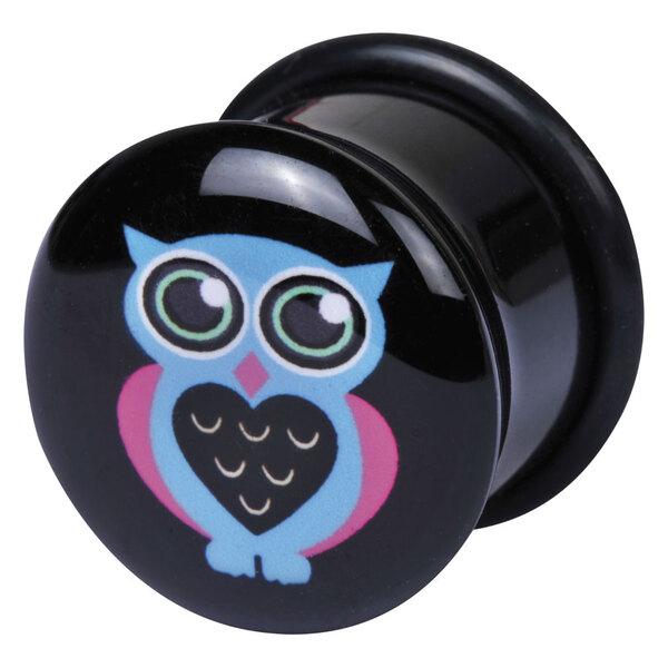 Logo Single Flared Acryl Plug Blaue Eule