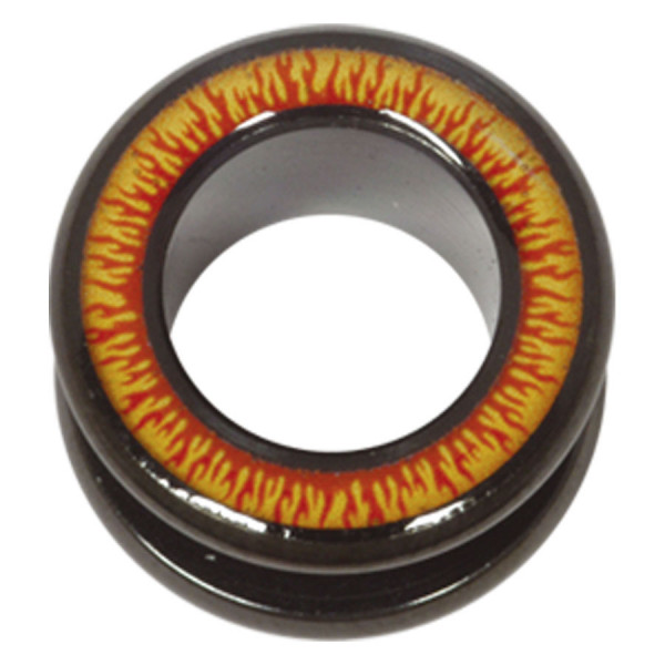 Steel Blackline® Halo Flesh Tunnel Flames Red Yellow