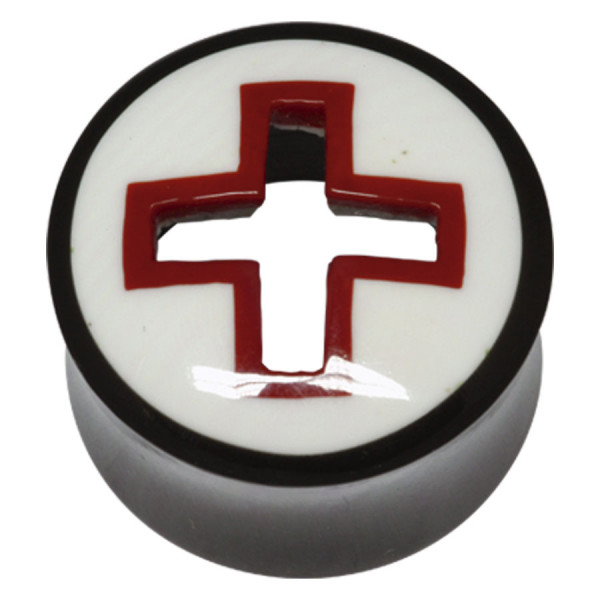 Buffalo Horn Red Cut Out Cross On White Plug