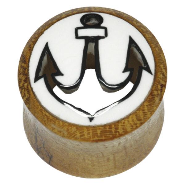 Wood & Buffalo Horn Cut Out Anchor Plug