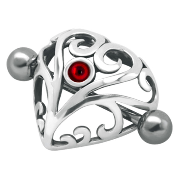 Crown Jewelled Heart Red