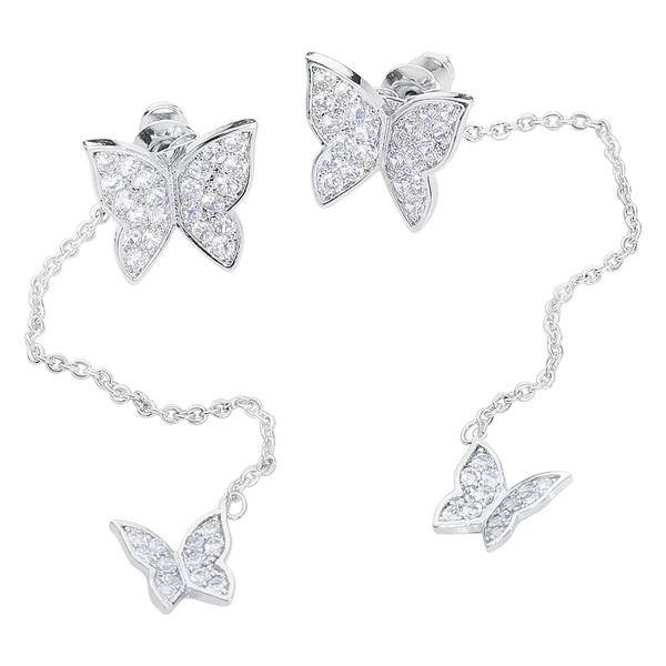 Crystal Butterflies Earrings Pair