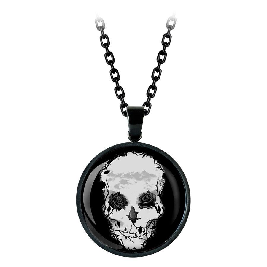 Mysterium Roses Skull Necklace