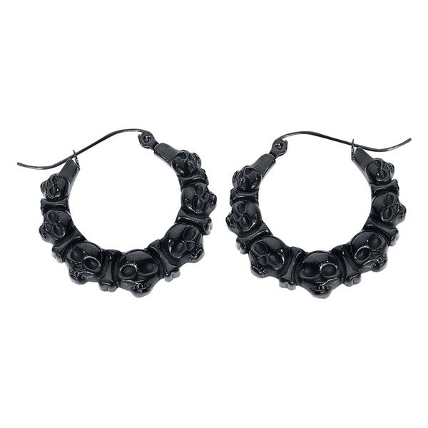 Steel Blackline® Skulls Earrings Black