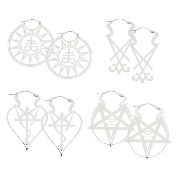 Wicca Hoops Set Silver