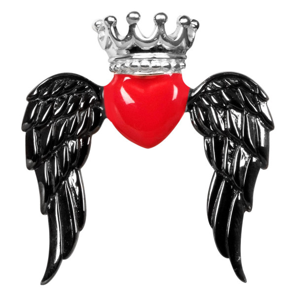 Elle-A-Bama - Winged Queen Heart Red Black