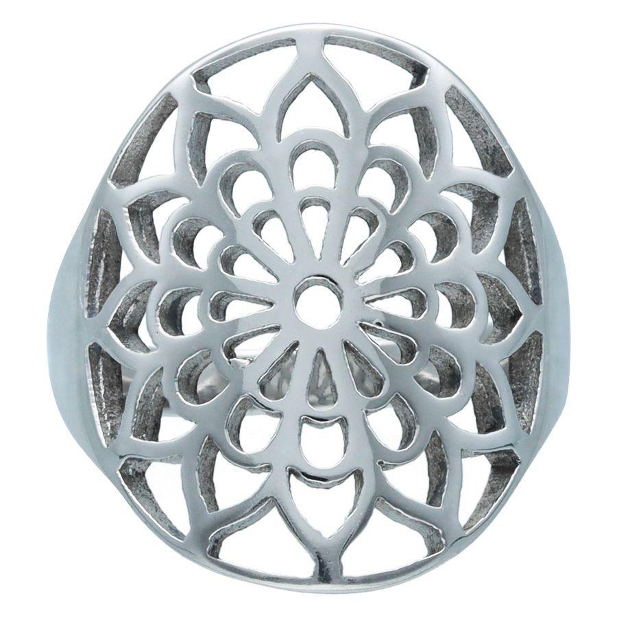 Silver Boho Flower Ring