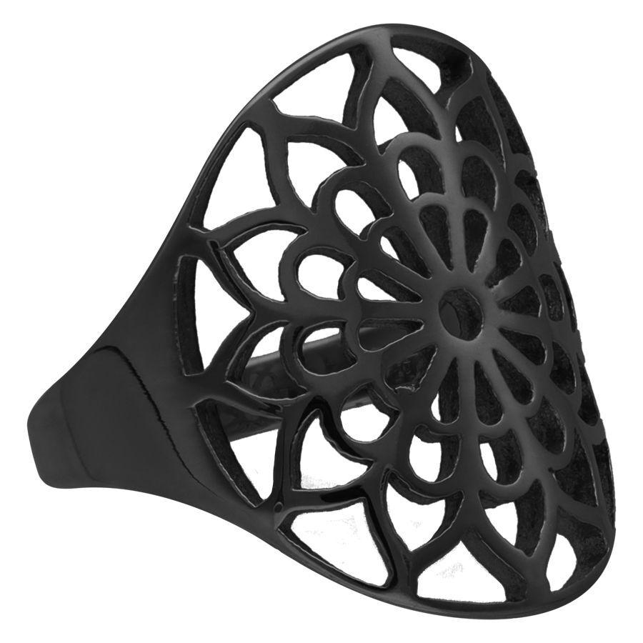 Black Boho Flower Ring
