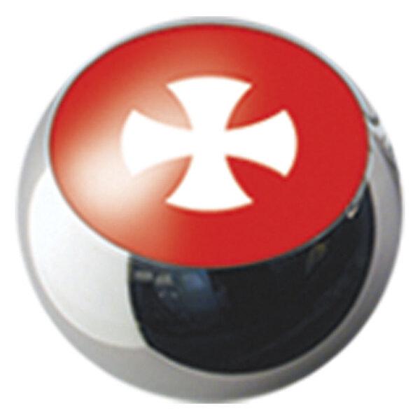 Ikon Screw On Balls White Cross on Red