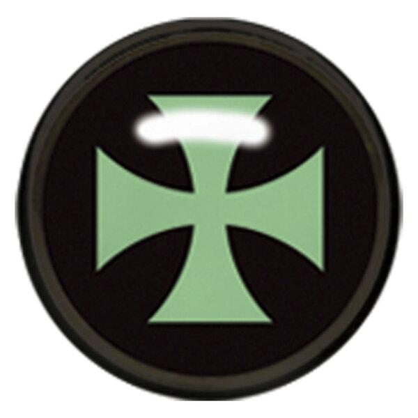 "Titan Blackline® Internally Threaded Ikon Disk ""Green Cross on Black"""