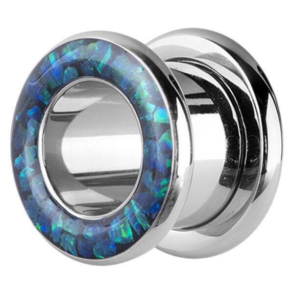 Steel Basicline® - Synthetic Opal Flesh Tunnel Blue
