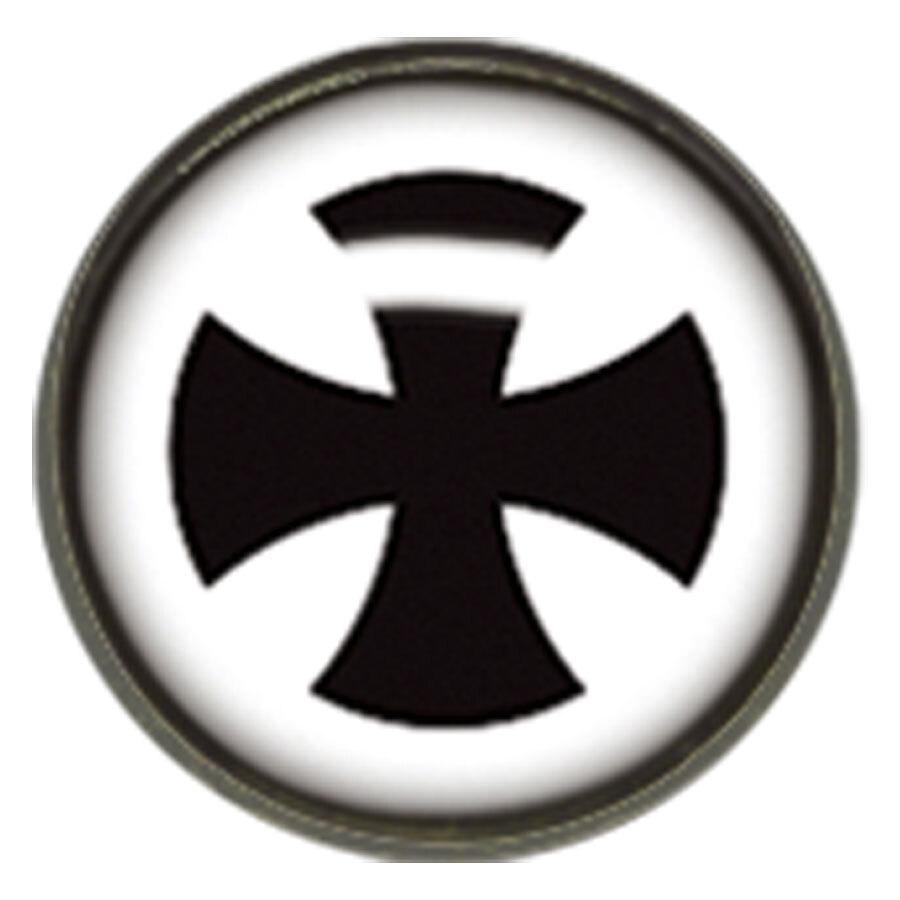"Titan Blackline® Internally Threaded Ikon Disk ""Black Cross on White"""