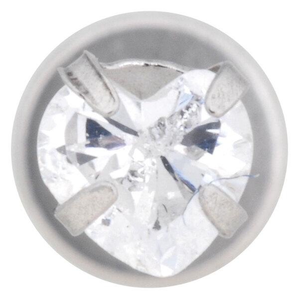 Steel Basicline® Internally Threaded Jewelled Labret Heart Stone