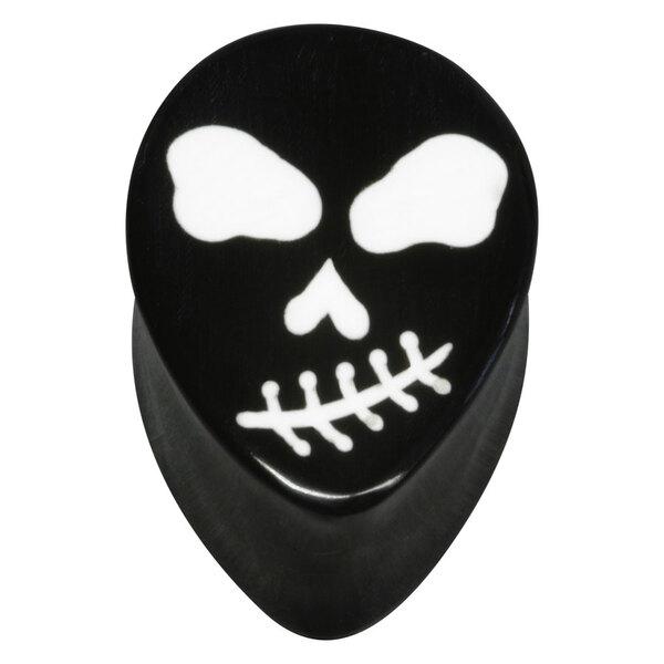 Oval Skull Buffalo Horn Plug White on Black
