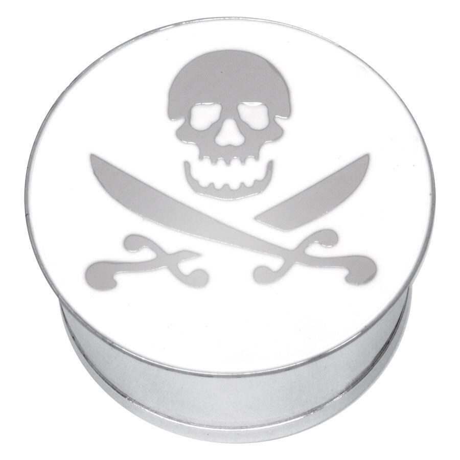 "Steel Basicline® Single Flared Impression Plug ""Skull and Cutlass on White"""