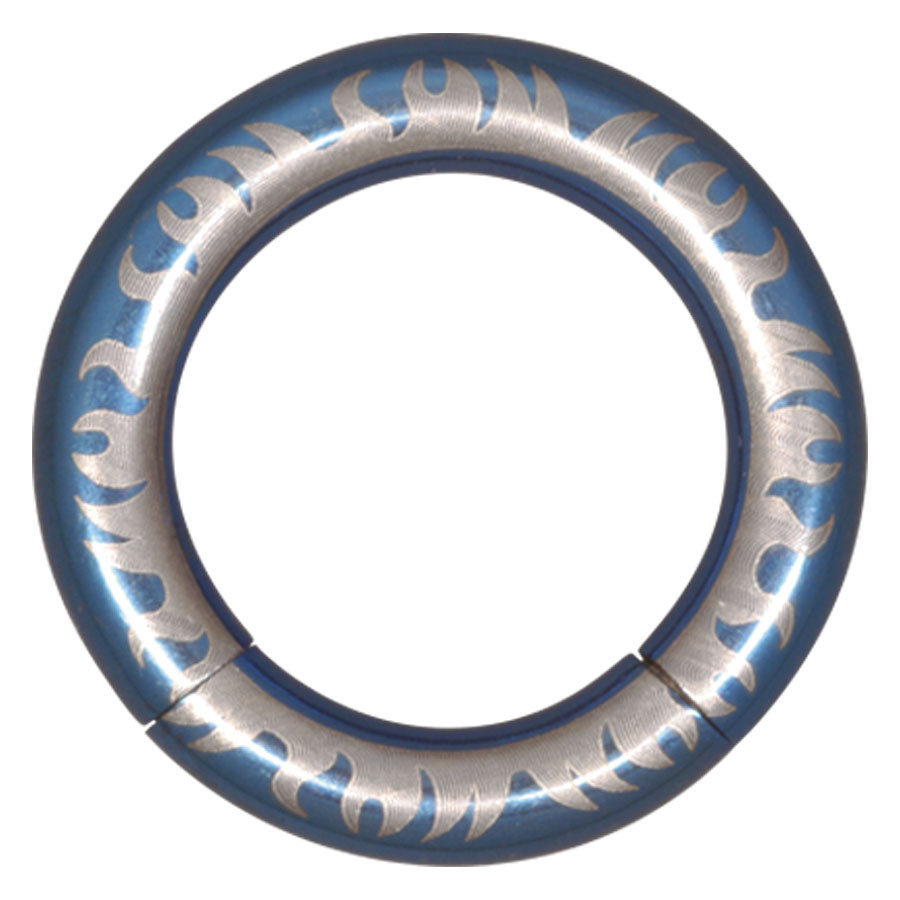 Steel Basicline® Elektra Blue Smooth Segment Ring Flames